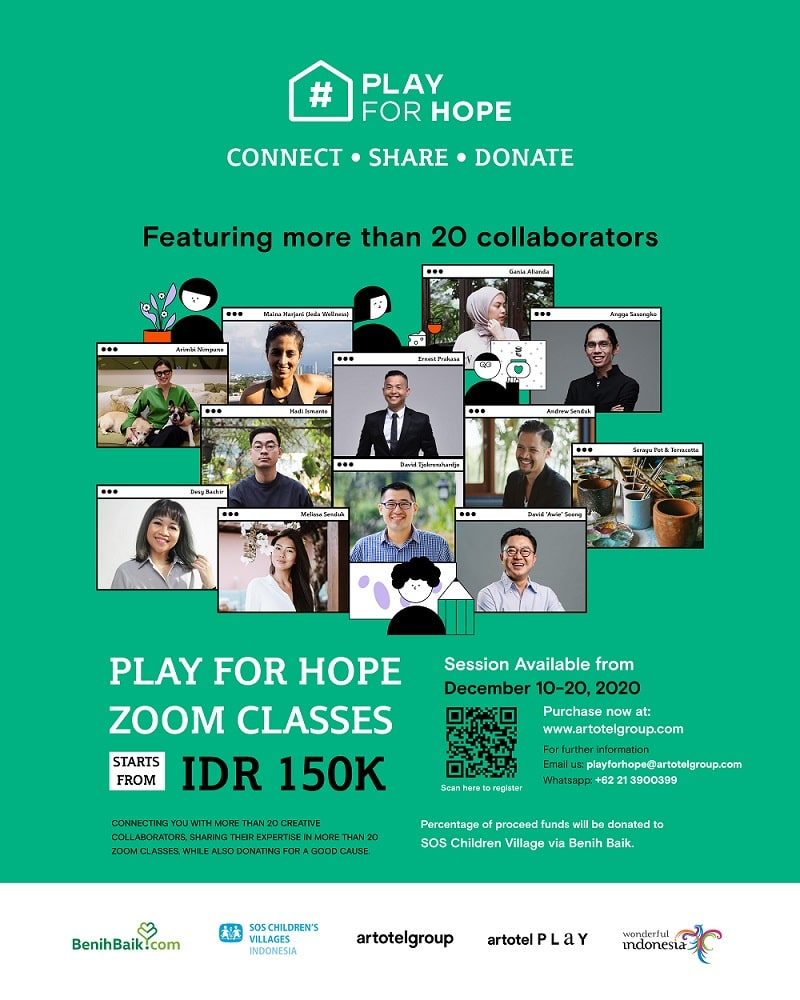 ''PLAY FOR HOPE'' Kelas Workshop Virtual dan Kampanye CSR Artotel Group