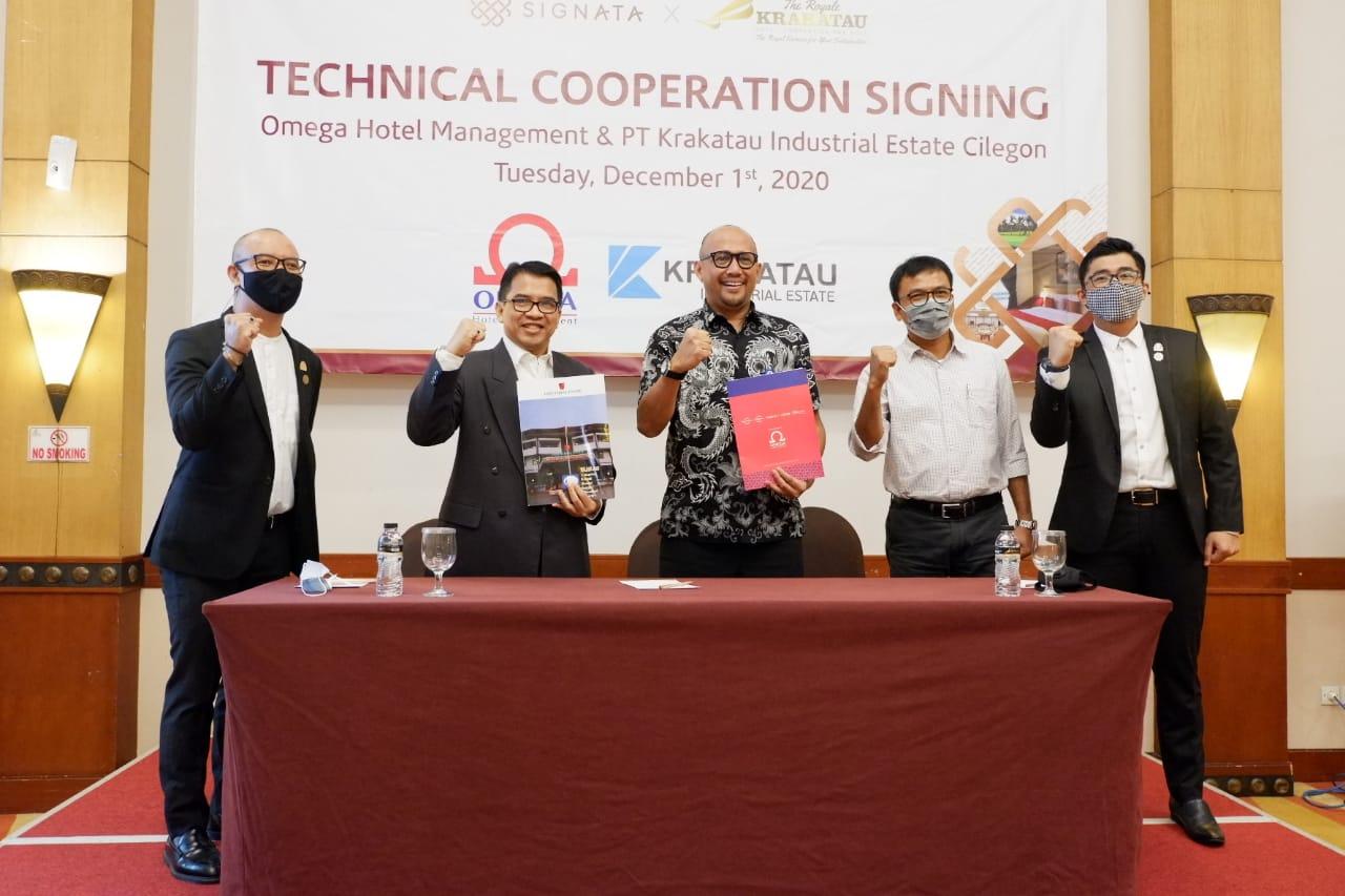 Penandatanganan Kerjasama Teknis Omega Hotel Management (OHM) dan PT Krakatau Industrial Estate Cilegon (KIEC). OHM sebagai Konsultan Hotel Bintang 4, The Royale Krakatau Cilegon.
