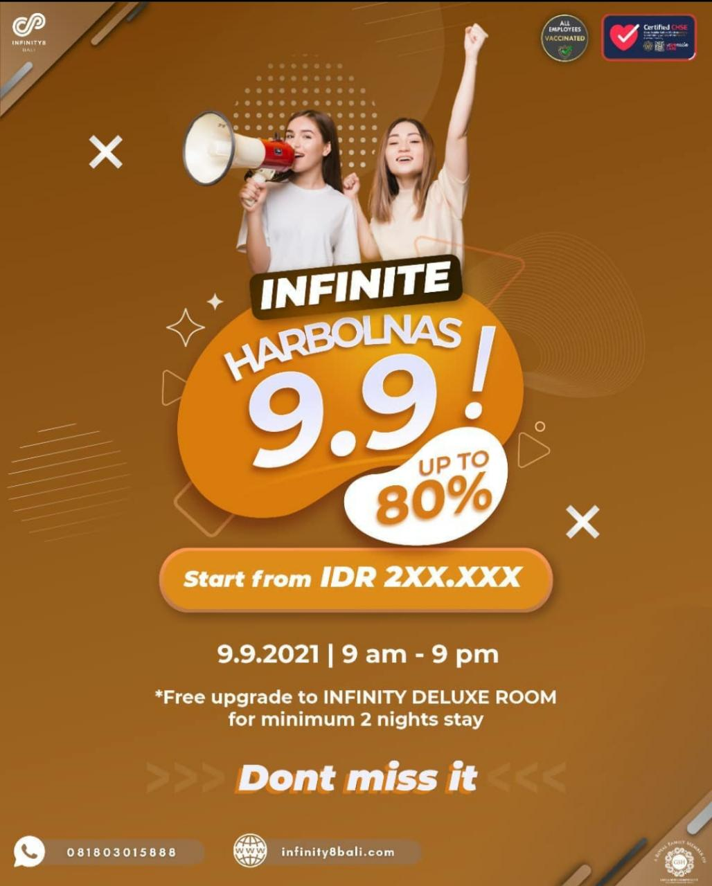 INFINITE HARBOLNAS 9.9 hanya di INFINITY8 Bali